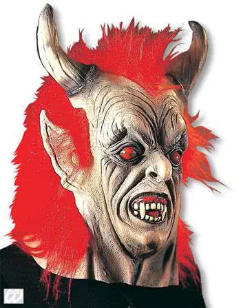 devil mask with red hair horror mask for halloween horror. Black Bedroom Furniture Sets. Home Design Ideas