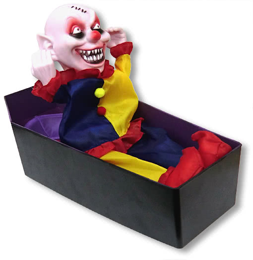 clown im sarg animatronic halloween deko horrro animatronic horror. Black Bedroom Furniture Sets. Home Design Ideas