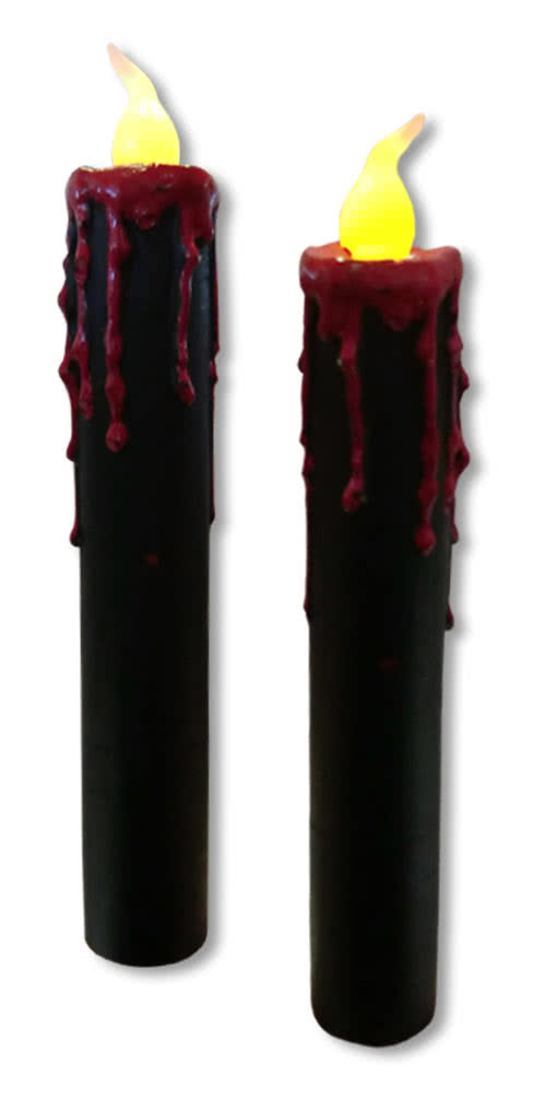 blutende led kerzen 2er set schwarze led kerzen mit blutstropfen horror. Black Bedroom Furniture Sets. Home Design Ideas