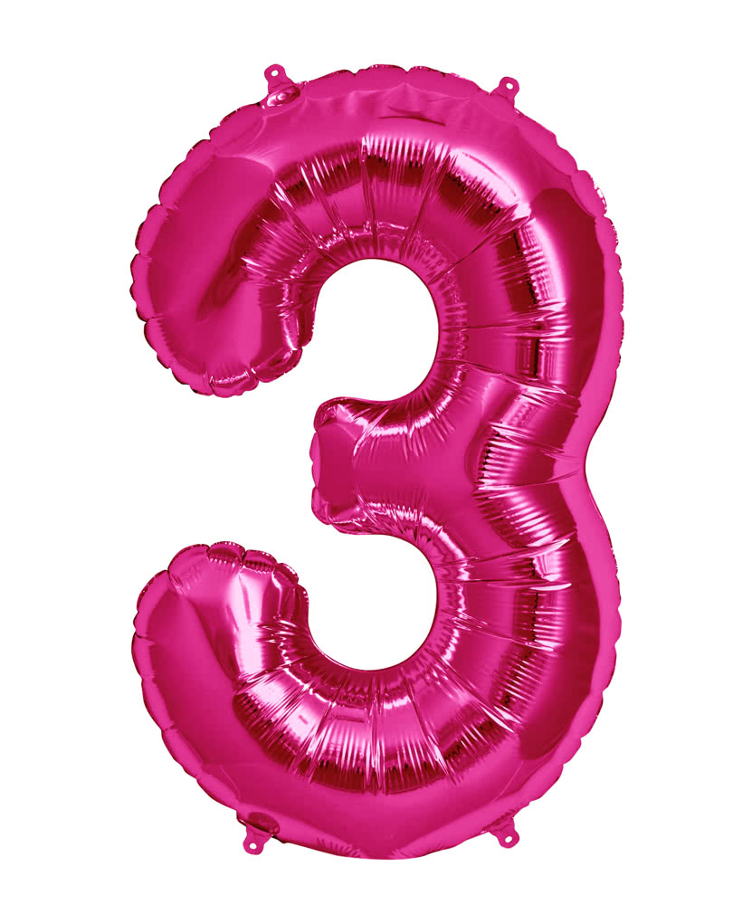Foil balloon number 3 pink fancy foil balloon in pink for What to do with balloons
