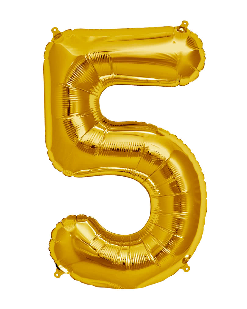 Foil balloon number 5 gold balloon with number as a motive for Number 5 decorations