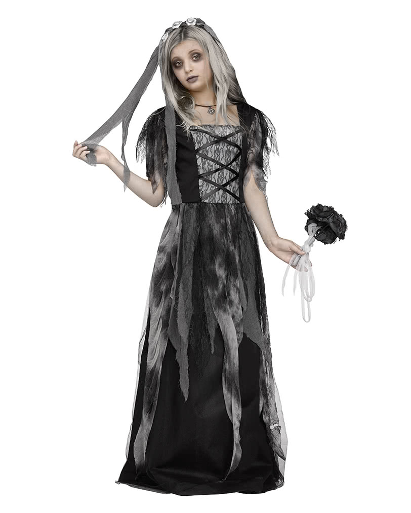 graveyard bride child costume with veil send halloween costumes teenagers horror. Black Bedroom Furniture Sets. Home Design Ideas