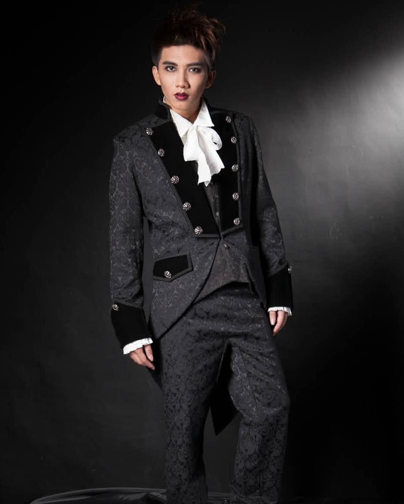gothic herren brokat gehrock schwarz eleganter mantel im. Black Bedroom Furniture Sets. Home Design Ideas