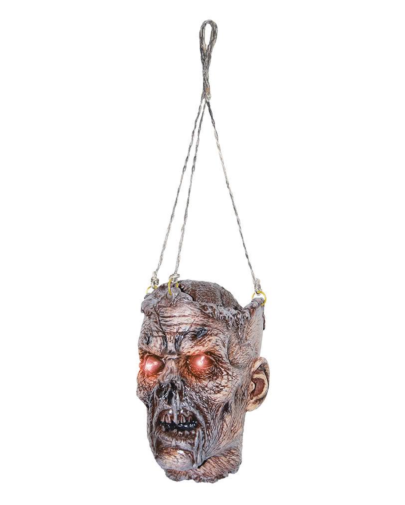 zombie kopf mit led augen als halloween h ngedeko horror. Black Bedroom Furniture Sets. Home Design Ideas