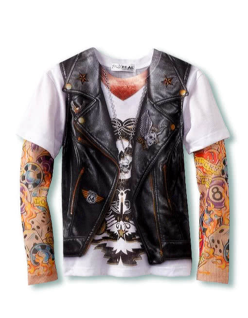 herren tattoo shirt gangster hemd biker shirt rocker weste horror. Black Bedroom Furniture Sets. Home Design Ideas
