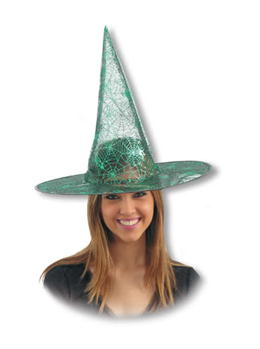 lurex witch hat with cobwebs green witchhat wicca hat