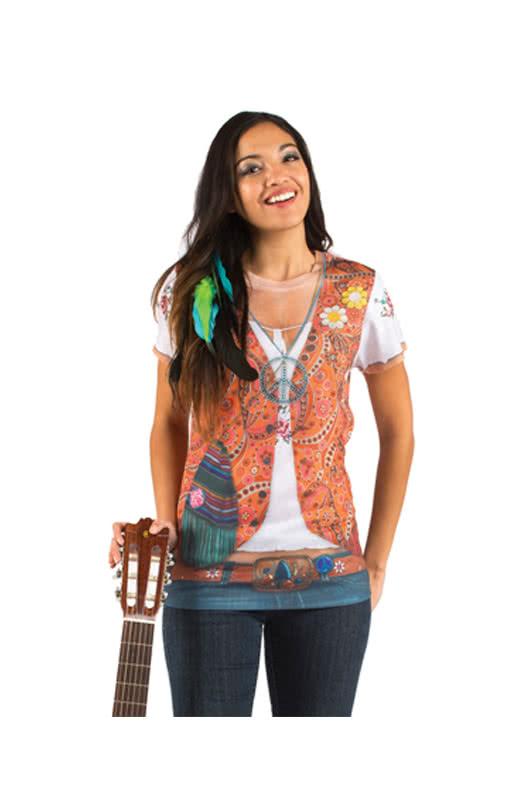 hippie damen t shirt mit strass sehr buntes fun t shirt. Black Bedroom Furniture Sets. Home Design Ideas