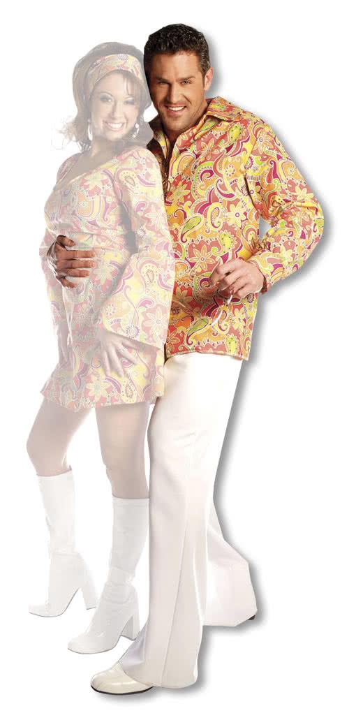 m nner hippie hemd orange xxlarge flower power funky outfit 60er jahre horror. Black Bedroom Furniture Sets. Home Design Ideas