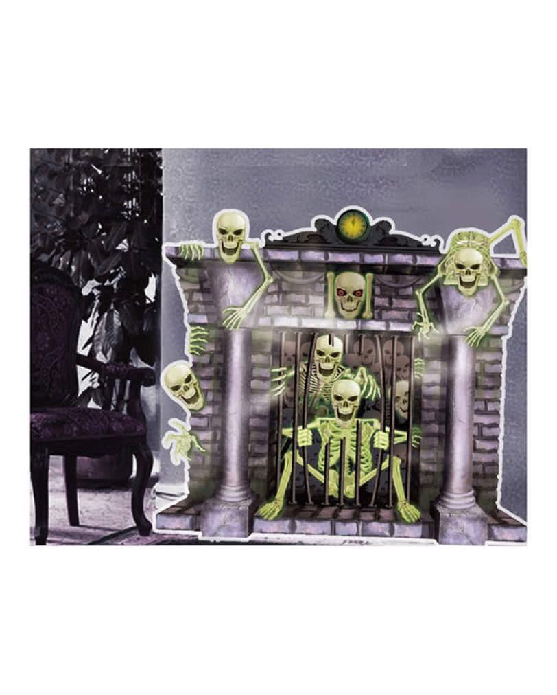 kamin skelette halloween wanddeko stimmungsvolle party
