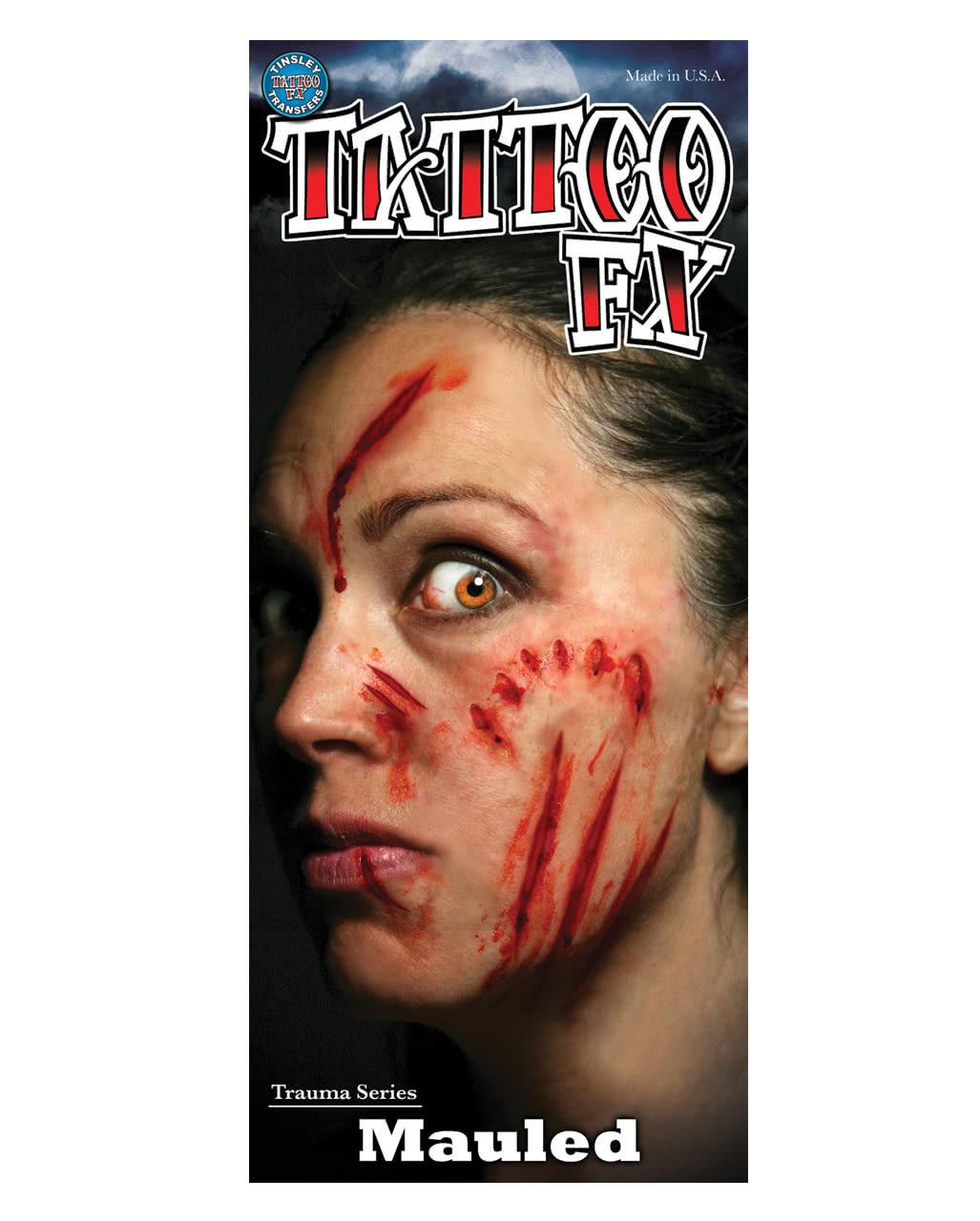 Fx lacerations tattoo transfer tattoo horror for Halloween makeup tattoos