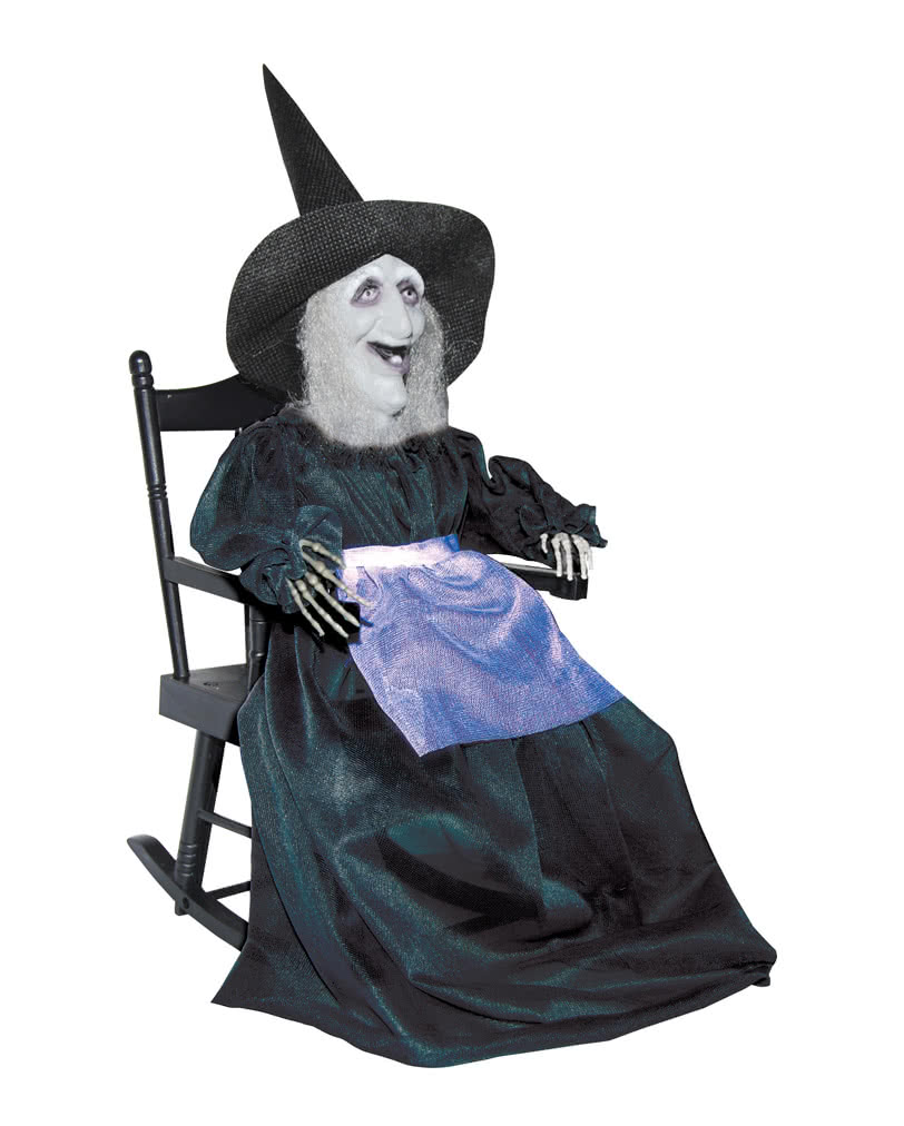 Kleine hexe im schaukelstuhl animatronic schaukelnde for Schaukelstuhl deko