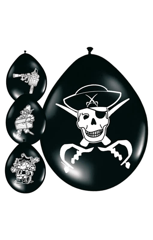pirate balloons latex latex balloons for your buccaneer and freebooteer party horror. Black Bedroom Furniture Sets. Home Design Ideas
