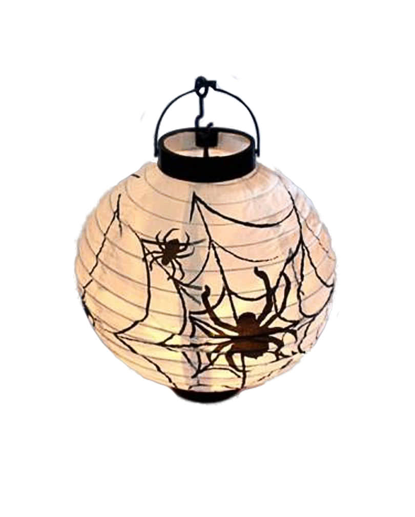 led lampion mit spinnenmotiv spinnen und netze sind deko der laterne horror. Black Bedroom Furniture Sets. Home Design Ideas
