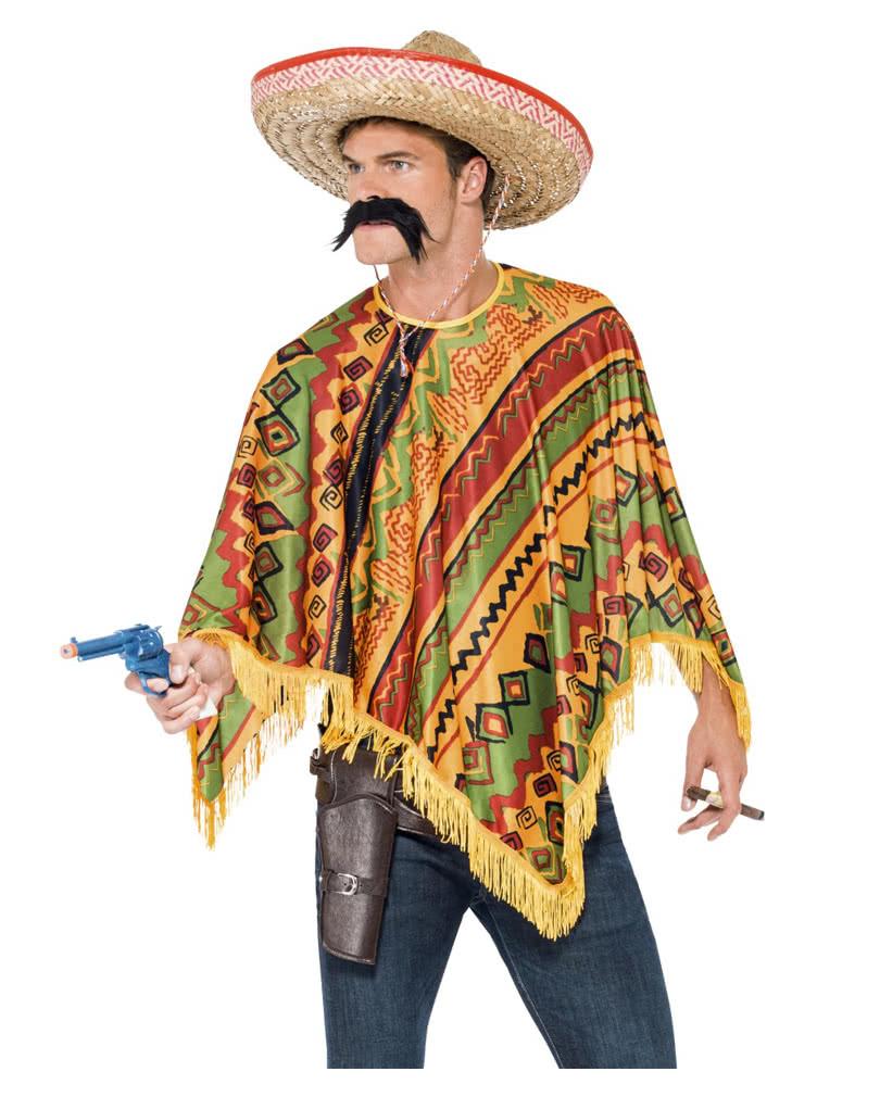 mexikaner poncho mit bart f r fasching horror. Black Bedroom Furniture Sets. Home Design Ideas