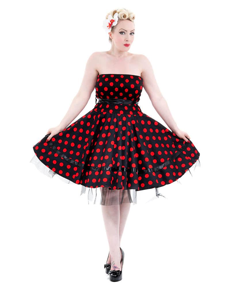 schwarzes bandeau kleid mit roten polka dots l 50er jahre kleid horror. Black Bedroom Furniture Sets. Home Design Ideas