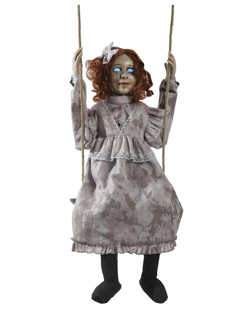 schaukelnde scary doll animatronic bewegliche halloween figuren horror. Black Bedroom Furniture Sets. Home Design Ideas
