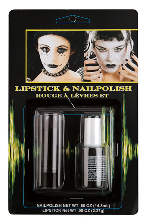 schwarzer nagellack lippenstift set karnevalsschminke gothic zubeh r horror. Black Bedroom Furniture Sets. Home Design Ideas