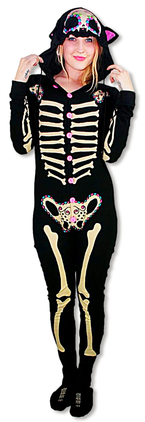 skeleton pyjamas kitty footed jumpsuit pajamas skeleton. Black Bedroom Furniture Sets. Home Design Ideas