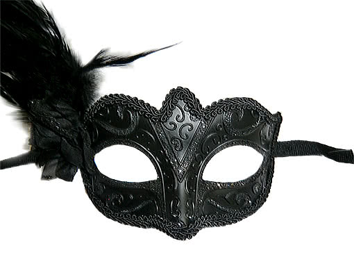 venezianische feder maske schwarz venezianische federmaske mit blume horror. Black Bedroom Furniture Sets. Home Design Ideas