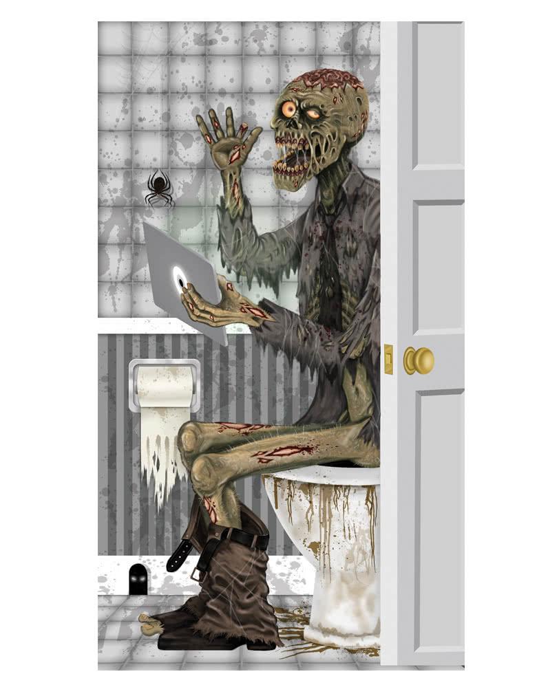 Skeleton motif bathroom door decoration film halloween