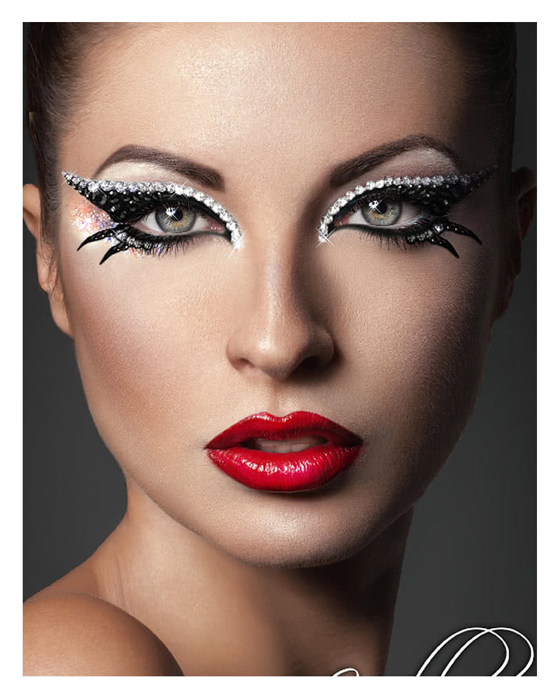 xotic eyes cleopatra schwarz silber make up zum aufkleben augen make up kit horror. Black Bedroom Furniture Sets. Home Design Ideas