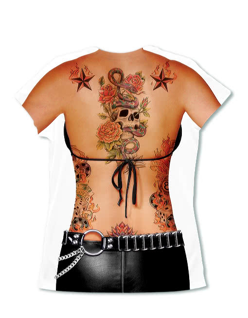 tattoo lady shirt fake tattoo frauen t shirt tattoo design horror. Black Bedroom Furniture Sets. Home Design Ideas