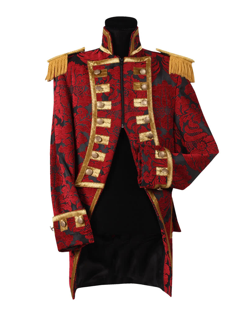 More on Girls Ringmaster Costume: Your little one is ready to run the show on Halloween in a Ringmaster Costume for girls! The costume includes a burgundy jacket with black and gold details, a black and white harlequin vest, black pants, a black and red top hat, a .