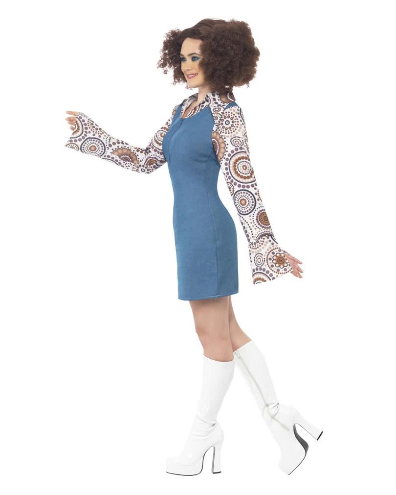 70er jahre disco queen kost m hippie minikleid im. Black Bedroom Furniture Sets. Home Design Ideas