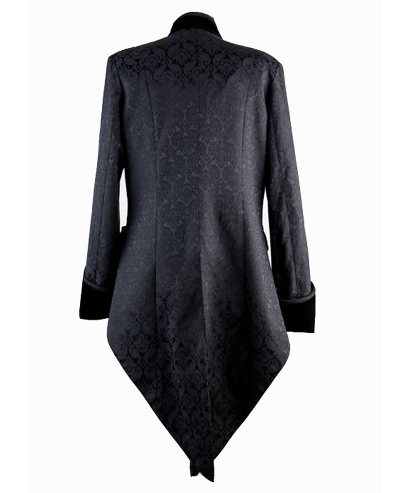 gothic herren brokat gehrock schwarz eleganter mantel im viktorianischen stil horror. Black Bedroom Furniture Sets. Home Design Ideas